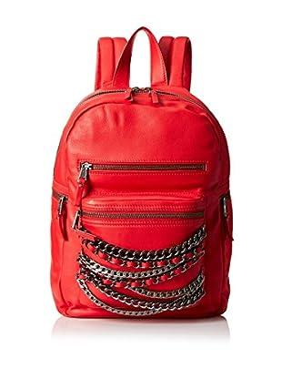ASH Women's Domino Chain Backpack, Red/Tarnish Silver/Gunmetal