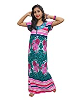 Indiatrendzs Women's Regular Fit Green Nighty