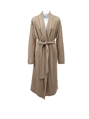Sofia Cashmere Women's Cable-Knit Bathrobe (Heather Taupe)