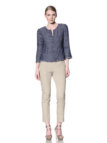 Lafayette 148 New York Women's 3/4 Sleeve Verona Jacket (Nu Blue Multi)