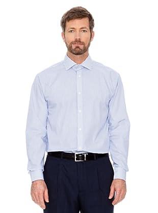 Cortefiel Unifarbenes Hemd (Marine/Weiß)