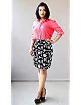 Madhurima Bhattacharjee Black Printed Pencil Skirt