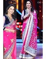Madhuri Dixit In Dark Pink Saree On Jhalak Dikhhla Jaa Grand Finale Sets