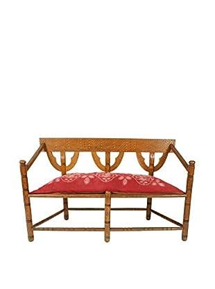 Swedish Munkstol Bench, Brown/Red/Tan