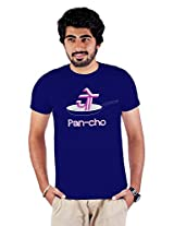 Enquotism Navy Blue Combed Fabric Round Neck Men T-Shirt-XXL Pan-cho Navy Blue -XXL