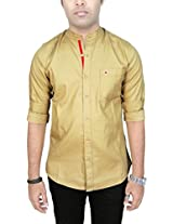 AA' Southbay Men's Beige 100% Cotton Oxford Mandarin Collar Long Sleeve Solid Casual Party Shirt