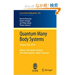 Quantum Many Body Systems: Cetraro, Italy 2010, Editors:  Alessandro Giuliani, Vieri Mastropietro, Jakob Yngvason (Lecture Notes in Mathematics / C.I.M.E. Foundation Subseries)