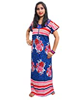 Indiatrendzs Women's Hosiery Cotton Nighty Blue Floral Print Maxi Dress