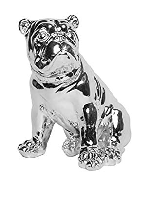 Interior Illusions Electroplated Dog Bank, Silver