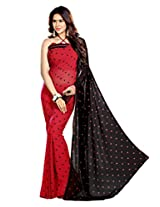 Sourbh Sarees Lace Work Red Faux Georgette Best Sarees For Women Party Wear, Special Karwa Chauth Gifts For Wife, Women Clothing Collection