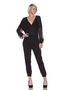 L.A.M.B. Women's Knit Top with Chiffon Sleeves (Black)