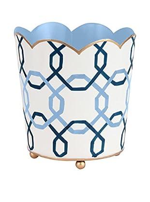 Jayes Squares Decorative Cachepot, Light Blue