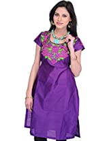 Exotic India Prism-Violet Kurti with Roses Embroidered Patch and Crysta - Purple