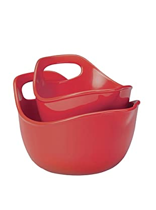 Rachael Ray Stoneware 2-Piece Set:  1 Qt. & 2 Qt. Mixing Bowls (Red)
