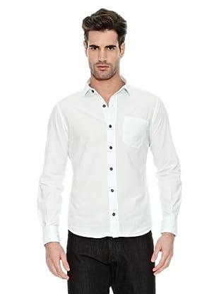 STONE ISLAND Camisa Manga Larga Puños Abotonados Bolsillo Frontal Abierto (Blanco)