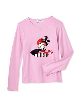 Sonia Rykiel Girl's Long Sleeve Shirt with Girl Print (Pink)