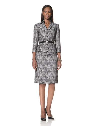 Tahari by A.S.L. Women's Printed Jacket and Matching Skirt (Black/Grey)