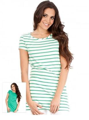 Cortefiel T-Shirt 2er-Set (Grün/Weiß)