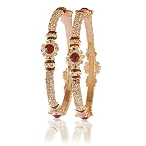 9blings Party wear Gold Plated Maroon CzRound Bangle for Women