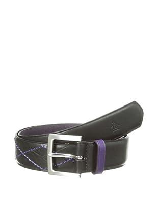 Original Penguin Men's Argyle Leather Belt (Black)