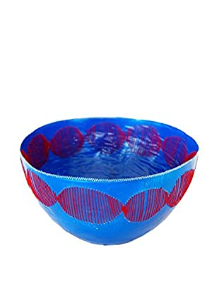 Asian Loft Swaziland Handcrafted Paper Mache Bowl with Stitch Pattern, Blue/Red