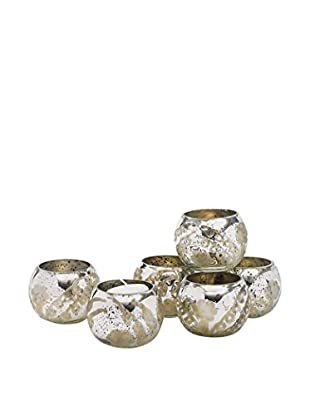 Go Home Set of 6 Pristine Votive Holders, Silver