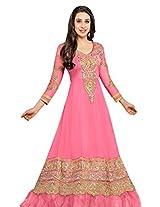 Clickedia Women Faux Gorgette Semi-Stitched Anarkali Suit (36000-pink)