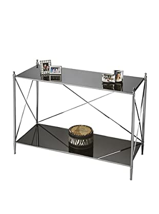 Butler Specialty Company Polished Aluminum and Black Mirror Console Table
