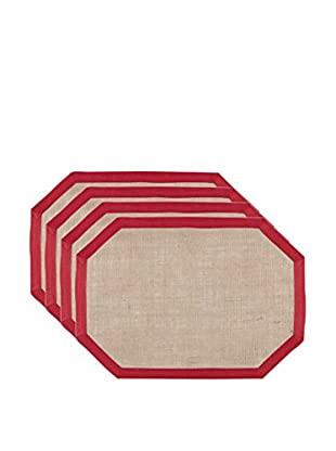 KAF Home Set of 4 Tosca Placemats, Red