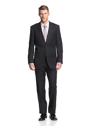 Renoir Men's Contemporary Classic Glen Plaid Suit (Black)