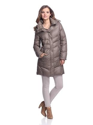 Calvin Klein Women's Down Coat with Faux Fur Trim (Mushroom)