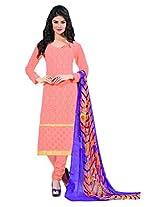 Khushali Presents Embroidered Georgette Dress Material(Light Orange)