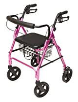 Lumex Aluminum Rollator with Curved Back Wheels, 8 Inches, Pink