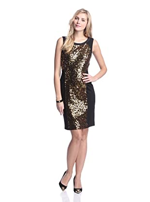 Nue by Shani Women's Ponte Dress with Sequins (Gold/Black)