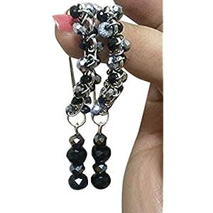 La Joyeria Silver Fancy Hooks with Crystal