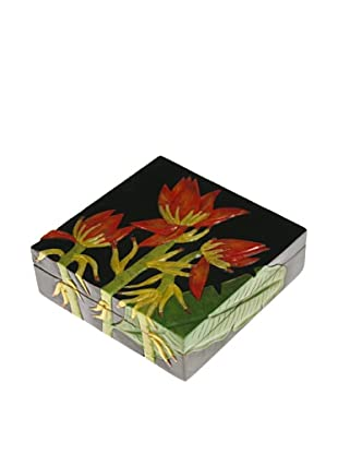 The Niger Bend Square Soapstone Box with Banana Plant Design