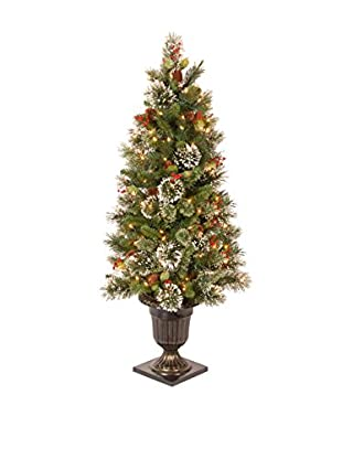 National Tree Company 5' Wintry Pine Entrance Tree Cones with Red Berries & Snowflakes