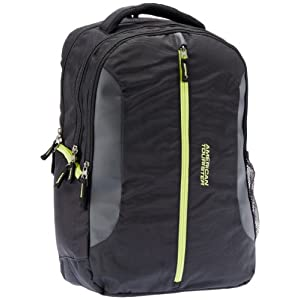 American Tourister Buzz Nylon Black and Light Green Laptop Backpack