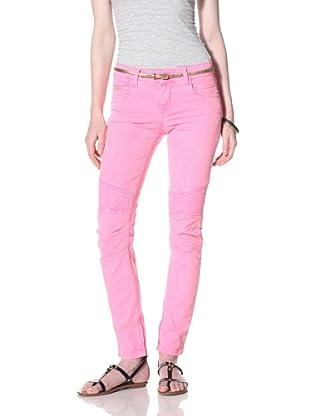 Rockstar Women's Biker Twill Jean (neon pink)
