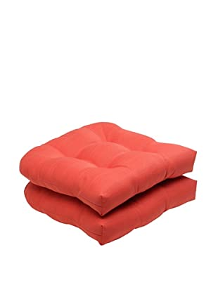 Pillow Perfect Set of 2 Outdoor Forsyth Coral Wicker Seat Cushions, Orange