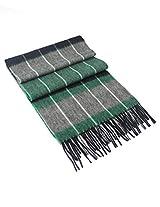 Dahlia Men's 100% Luxurious Wool Scarf - Box Awning Stripes - Green