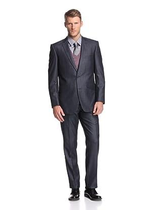 Renoir Men's Slim Fit Denim Look Suit (Dark Blue)