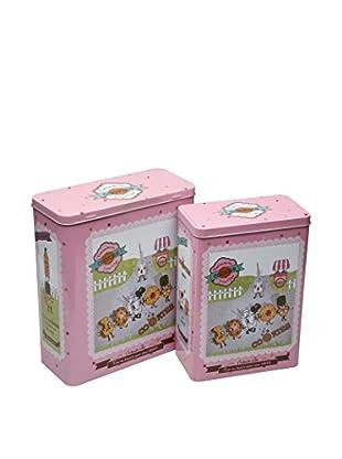Zings Aufbewahrungsbox 2er Set Cookies rosa