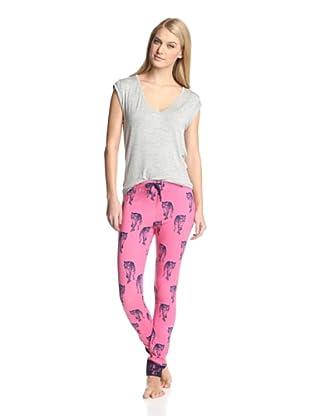 40 Winks Women's 2-Piece Pajama Set (Strawberry Leopard)