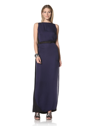 Halston Heritage Women's Cape Back Gown with Self Belt (Midnight Black)