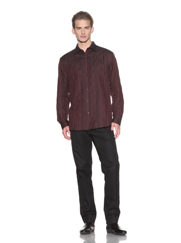 Jhane Barnes Men's Delineate Long Sleeve Button-Up (Black/Red)