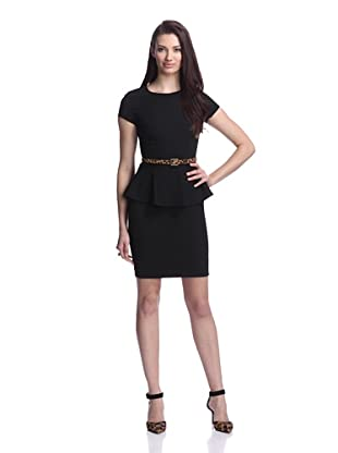 Nicole Miller Women's Short Sleeve Dress with Peplum (Black)