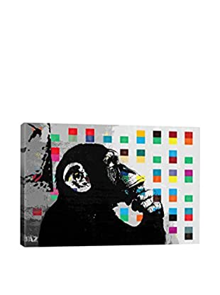 Banksy The Thinker Monkey Dots Close Up Gallery Wrapped Canvas Print