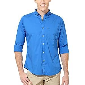 Van Heusen Men's Slim Fit Cotton Lycra Shirt [14942_Blue_38]