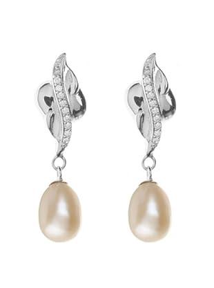 Silver One Pendientes Elegance Zirconum Perla